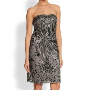 Sue Wong Strapless Embroidered Dress Black Size 4